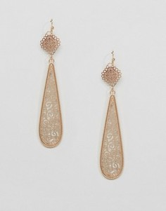 Nylon Vintage Style Long Pear Drop Earrings - Золотой