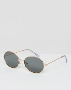 Солнцезащитные очки в золотистой оправе в стиле 90-х ASOS - Серебряный