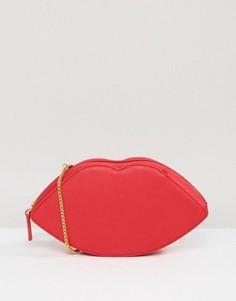Кожаная сумка через плечо губы Lulu Guinness - Красный