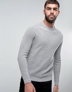 Джемпер из смеси хлопка и шерсти с рукавами реглан United Colors of Benetton - Серый