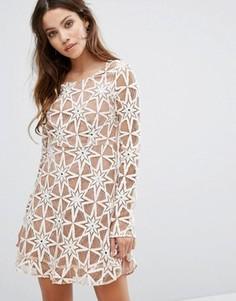 Кружевное платье For Love and Lemons Party - Кремовый