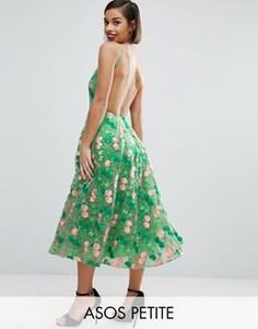 Платье для выпускного миди с открытой спиной и цветочной вышивкой ASOS PETITE SALON - Зеленый