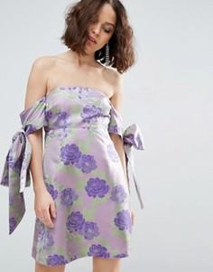 Жаккардовое платье мини с открытыми плечами и бантом-завязкой ASOS SALON - Фиолетовый