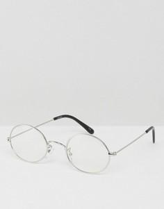 Овальные очки с прозрачными стеклами ASOS Geeky - Серебряный