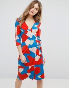 Платье с запахом и геометрическим принтом Traffic People - Мульти