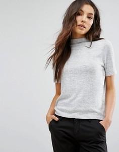 Трикотажная футболка с высокой горловиной Only - Серый