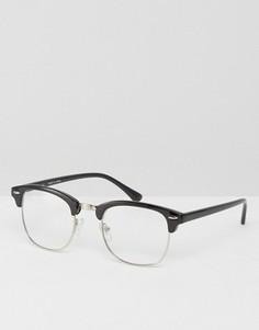 Очки в стиле ретро с прозрачными стеклами ASOS Geeky - Черный