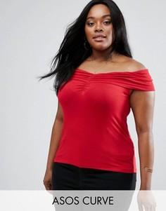 Топ с открытыми плечами и сборками ASOS CURVE - Красный
