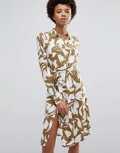 Платье с запахом и лиственным принтом Ganni Wilson - Коричневый