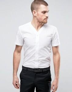 Узкая рубашка с V-образным вырезом и короткими рукавами Hart Hollywood - Белый