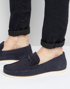 ASOS Loafers In Navy Suede With White Sole - Темно-синий