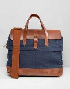 Темно-синий портфель с кожаной отделкой Timberland - Темно-синий