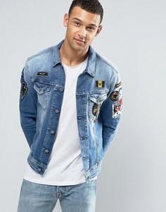 Джинсовая куртка с термонашивками Replay - Синий