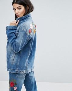 Джинсовая куртка бойфренда с вышивкой 7 For All Mankind - Синий