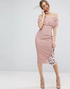 Кружевное платье-футляр миди ASOS Bardot - Розовый