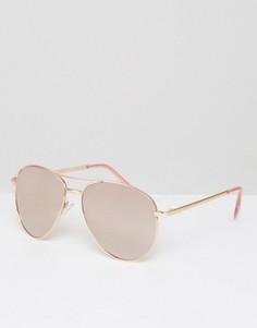 Солнцезащитные очки-авиаторы с золотистыми зеркальными стеклами ALDO Goriano - Розовый