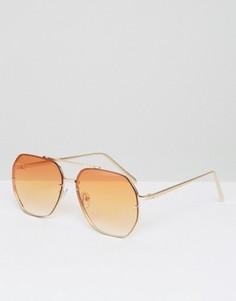 Солнцезащитные очки-авиаторы с оранжевыми стеклами ASOS - Золотой