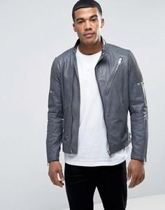 Кожаная куртка в винтажном стиле Diesel L-MACKSON - Черный
