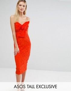 Кружевное платье-футляр миди с бантом спереди ASOS TALL - Оранжевый