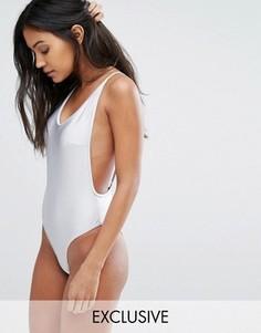 Серебристый слитный купальник с открытой спиной South Beach - Серебряный