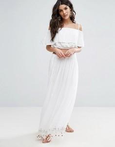 Пляжная юбка макси с декоративной отделкой и топ-бандо в тон Anmol - Белый