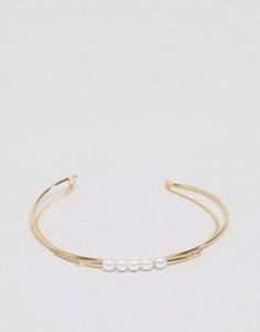 Узкий браслет-манжета в несколько рядов ASOS - Золотой