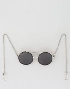 Круглые солнцезащитные очки с серьгами-кристаллами и планкой сверху ASOS - Черный
