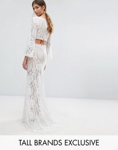 Jarlo Tall Cutout Back Lace Maxi Dress With Train - Белый