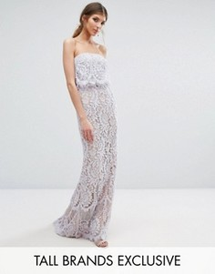 Jarlo Tall All Over Lace Bandeau Maxi Dress - Фиолетовый