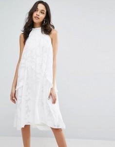 Свободное платье с халтером и оборками на карманах Lost Ink - Белый