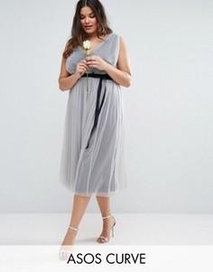 Платье миди из сетчатой ткани с лентой ASOS CURVE WEDDING - Синий