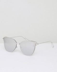 Серебристые солнцезащитные очки кошачий глаз с плоскими стеклами AJ Morgan - Серебряный