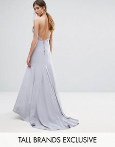 Jarlo Tall Button Back Cami Strap Maxi Dress - Серый
