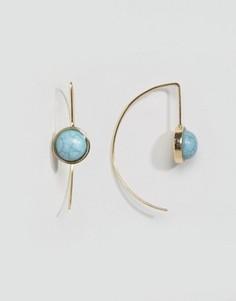 Серьги-кольца с отделкой камнями ASOS - Золотой