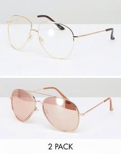 Очки-авиаторы с прозрачными стеклами и розово-золотистые солнцезащитные очки-авиаторы ASOS - Золотой