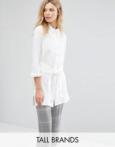 Удлиненная рубашка с завязкой спереди Vero Moda Tall - Белый