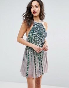 Приталенное сетчатое платье мини со свободной юбкой и пайетками ASOS - Мульти