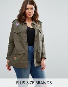 Куртка в стиле милитари с вышивкой Brave Soul Plus - Зеленый