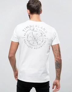 Белая футболка классического кроя с принтом компаса и логотипом на спине Timberland - Белый