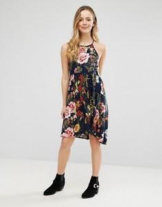 Платье с цветочным принтом Brave Soul - Темно-синий