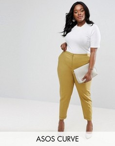 Льняные брюки-сигаретки ASOS CURVE - Зеленый