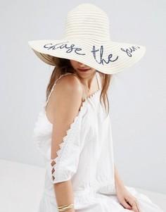 Соломенная шляпа с широкими полями ASOS - Коричневый