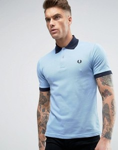 Fred Perry REISSUES Polo Contrast Rib in Sky Blue/Navy - Синий