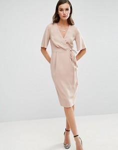Платье миди с запахом на лифе и завязкой на поясе ASOS - Розовый