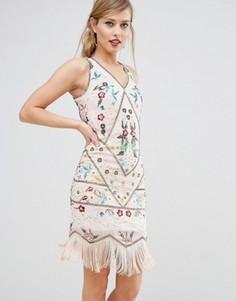 Платье-чарльстон с вышивкой Frock & Frill - Кремовый