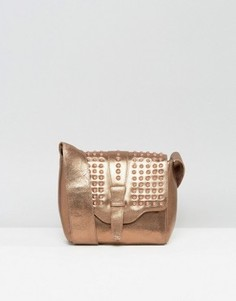 Urbancode Real Leather Bronze Cross Body Bag with Tonal Studded Flap - Медный