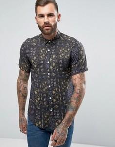 Рубашка из вискозы классического кроя с винтажным принтом ASOS - Черный