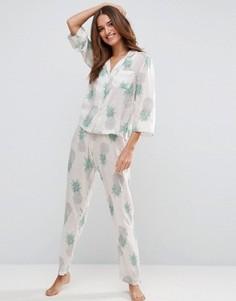 Пижама с принтом ананасов ASOS - Мульти