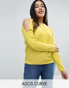 Джемпер в рубчик с открытыми плечами ASOS CURVE - Желтый