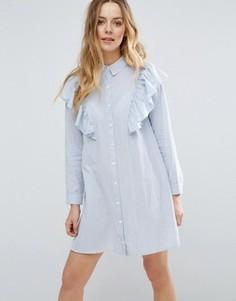 Платье-рубашка с оборками на плечах Influence - Синий